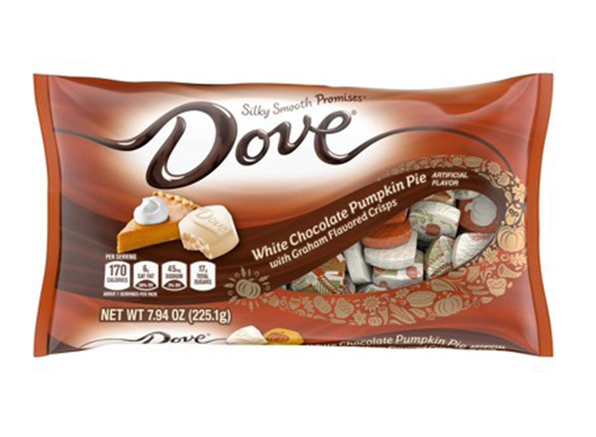 white chocolate dove pumpkin pie