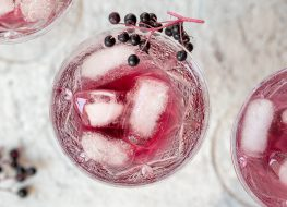 elderberry tonic drink over ice