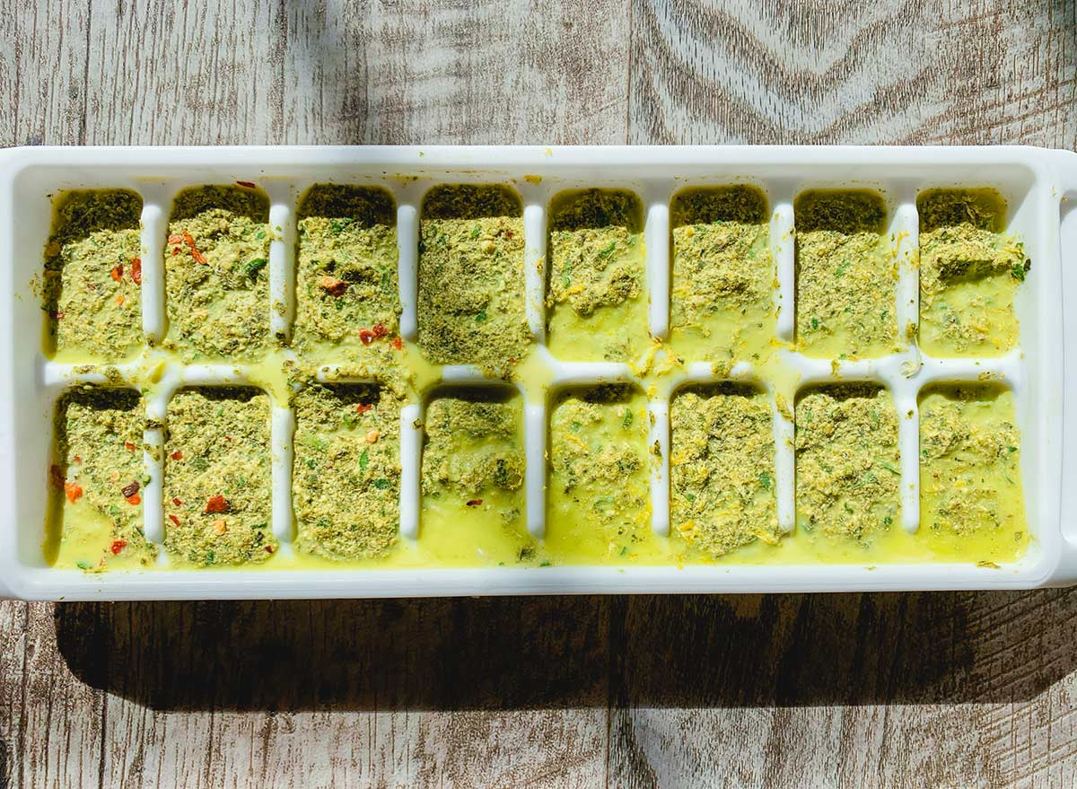 basil pesto frozen in ice cube trays