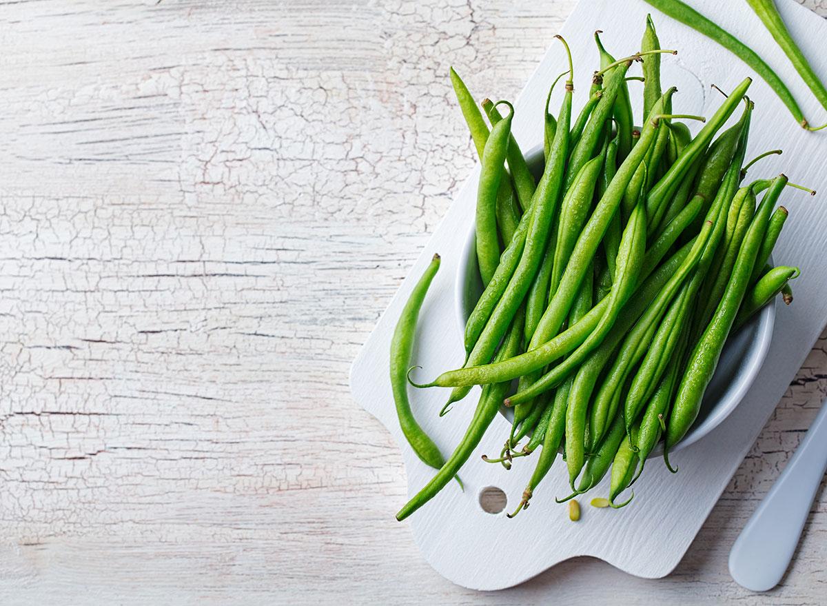 green beans cutting board