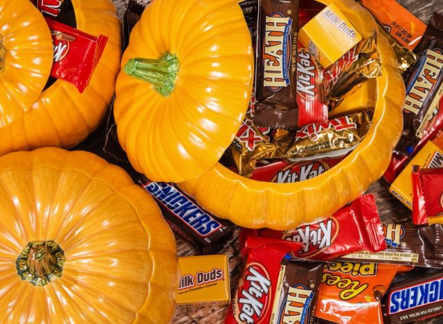 ceramic halloween pumpkin full of candy