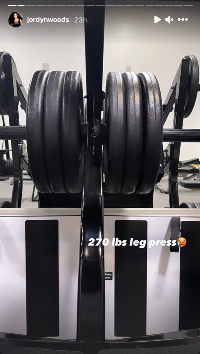 """screenshot of an instagram story with a large leg press weight and the words """"270 lbs leg press"""""""