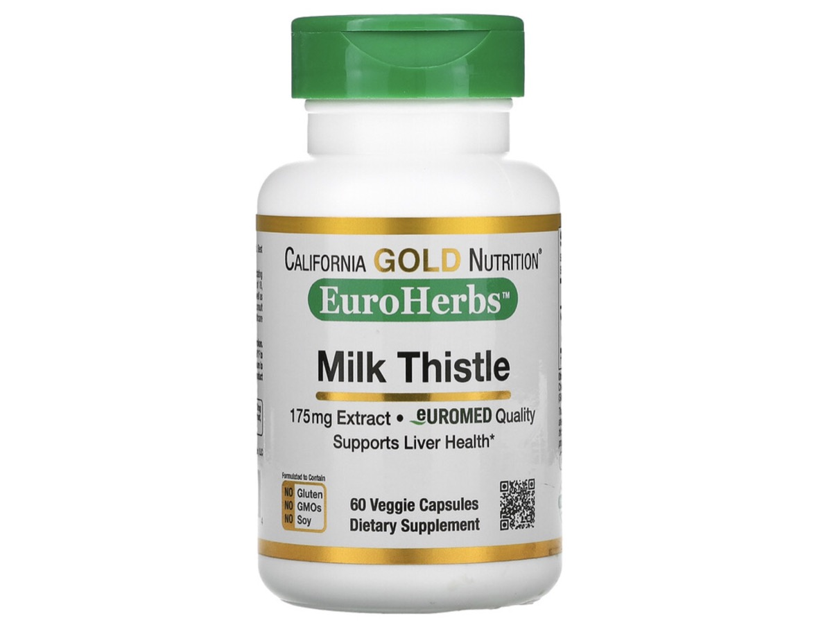 white bottle of milk thistle with green top on white background