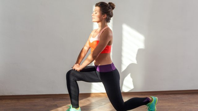 Lunge,Or,Split,Squats.,Side,View,Of,Fit,Woman,With