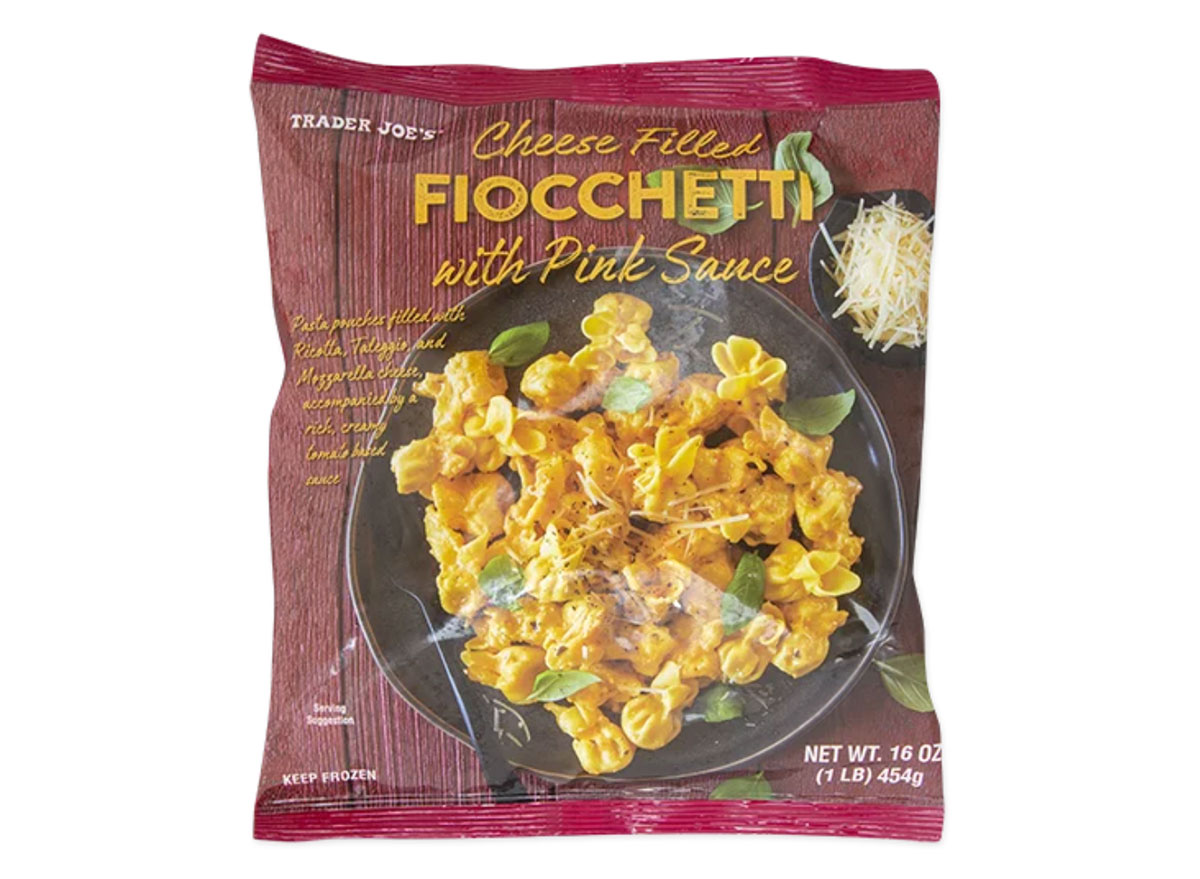 trader joes cheese filled fiocchetti pink sauce