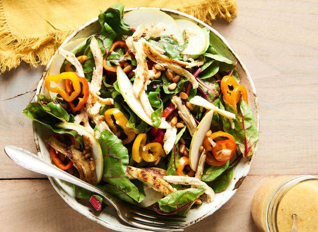 warm chicken salad pears swiss chard