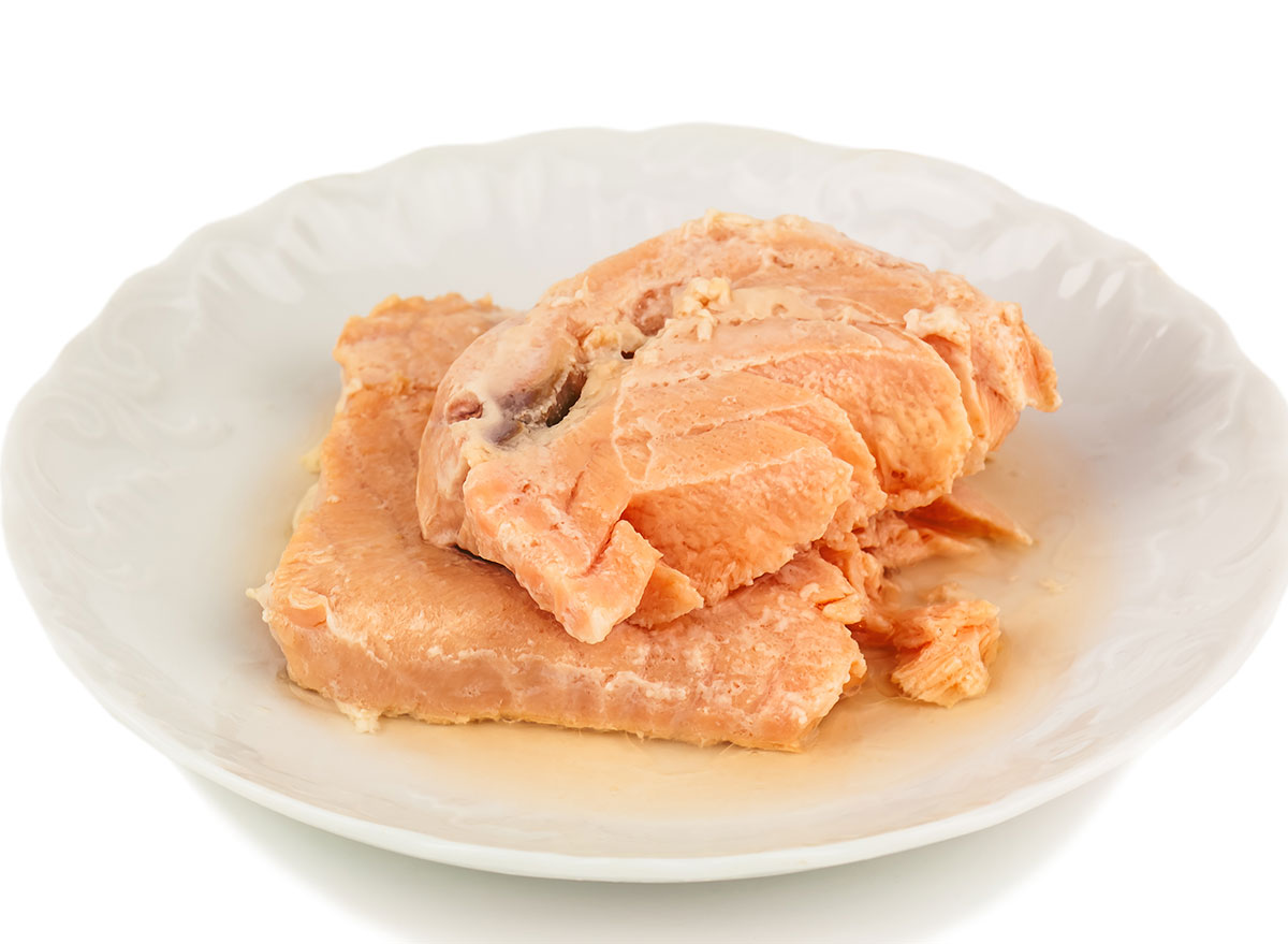 white plate canned salmon