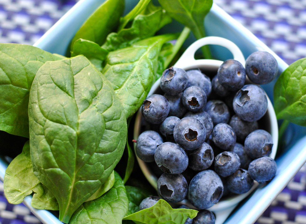 fruit vegetables berries blueberries spinach for smoothie
