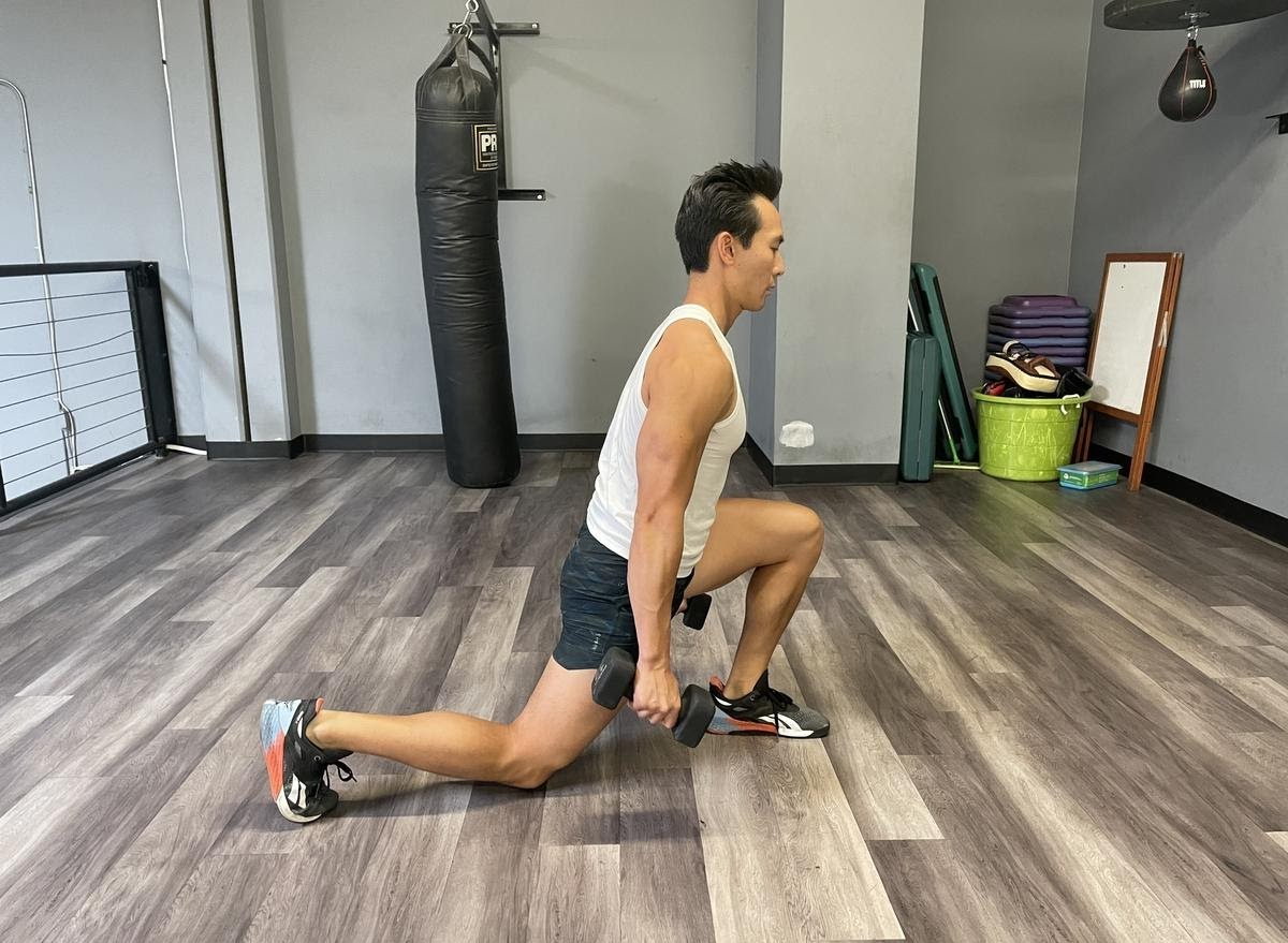 dunbbell reverse lunges