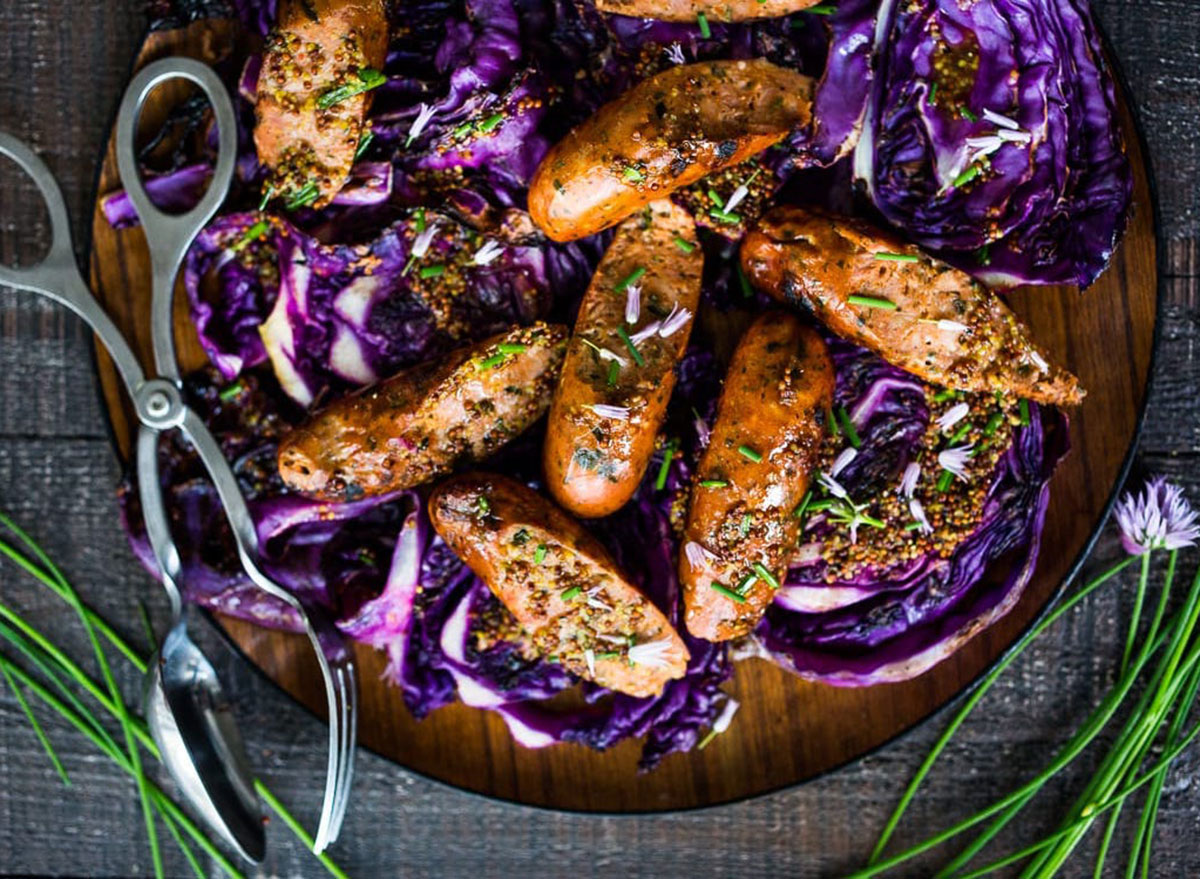 grilled cabbage sausage