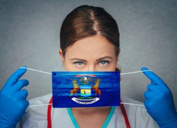 Female Doctor Portrait, protect Face surgical medical mask with Michigan Flag