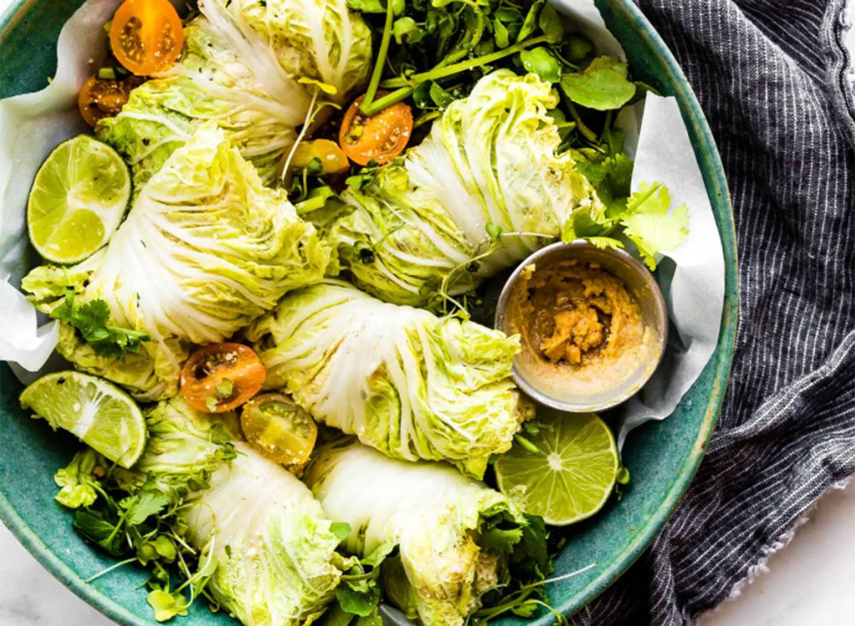 miso mango chicken salad cabbage wraps
