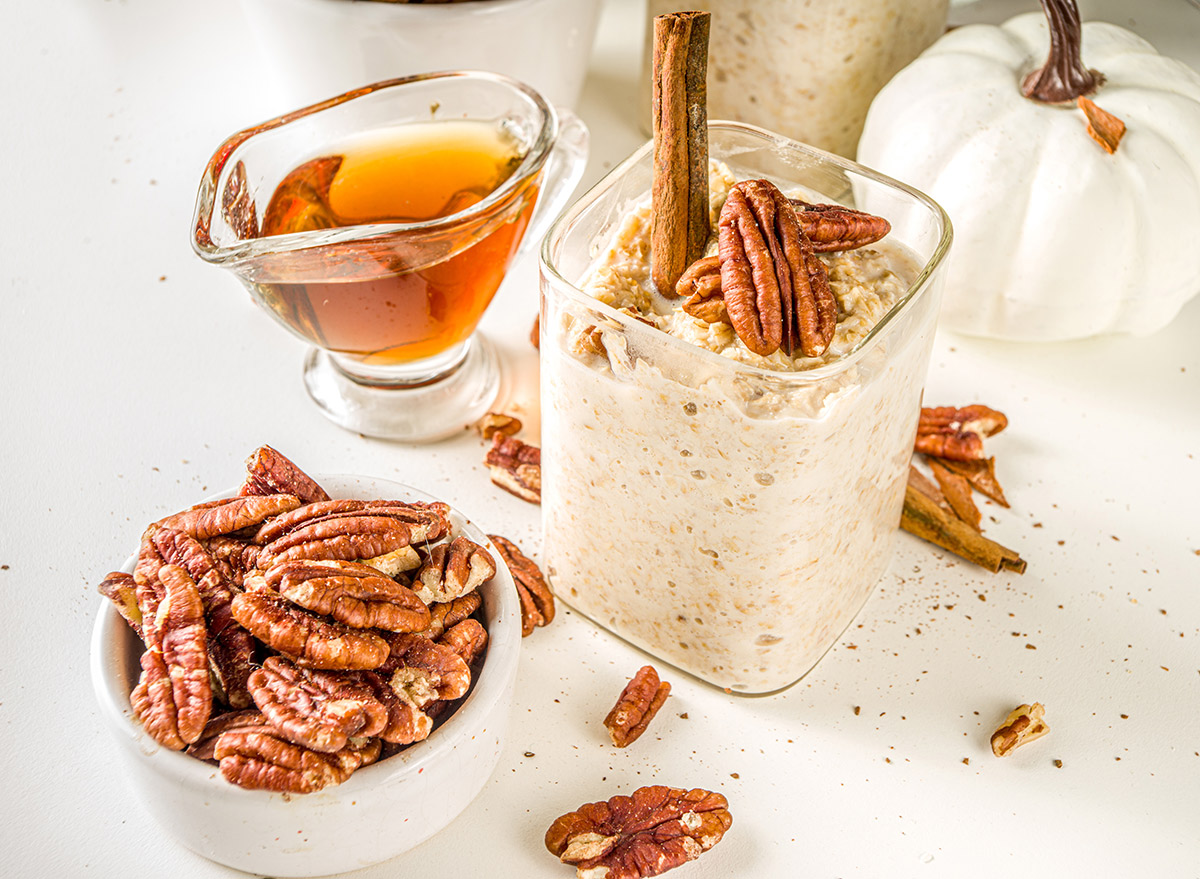 pecans with overnight oats and maple syrup