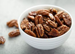 pecans in a white bowl
