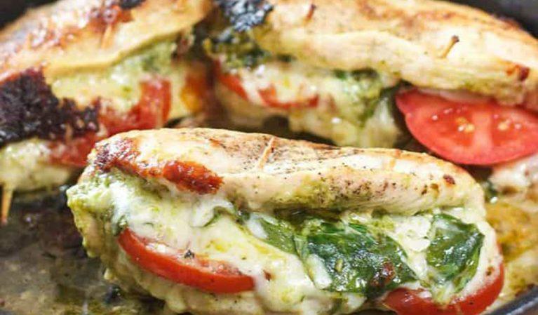 pesto mozzarella tomato stuffed chicken