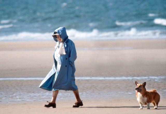 queen elizabeth walking on the beach with her corgi