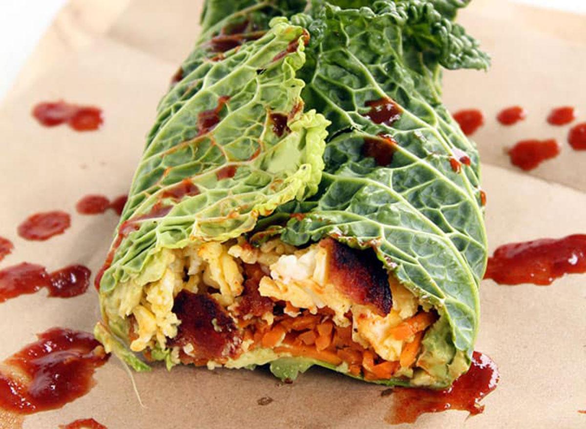 savoy cabbage breakfast burrito