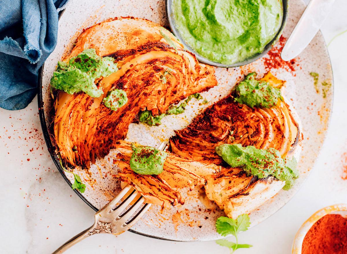 shawarma roasted cabbage wedges