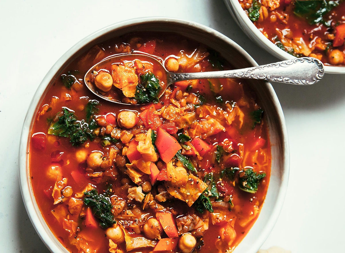 smoky chickpea cabbage lentil soup