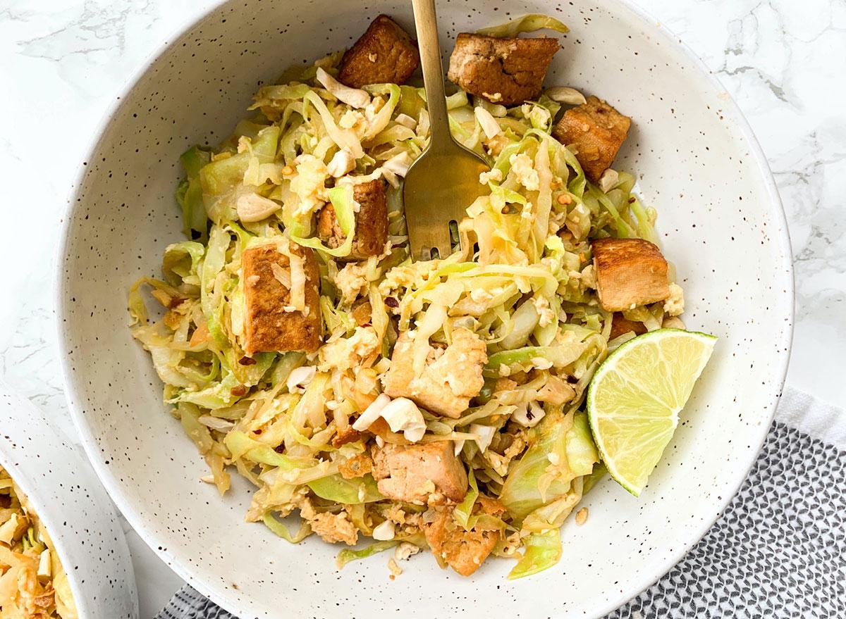 spicy tofu cabbage pad thai
