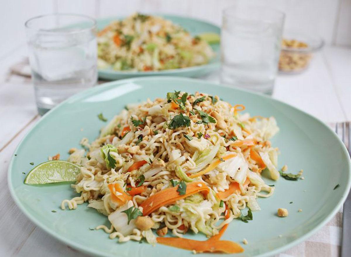 warm cabbage noodle salad