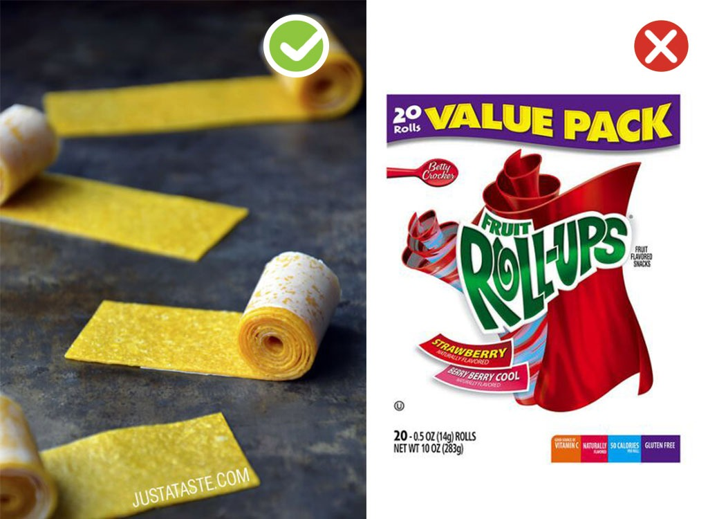 Ultraprocessed homemade swaps fruit roll up