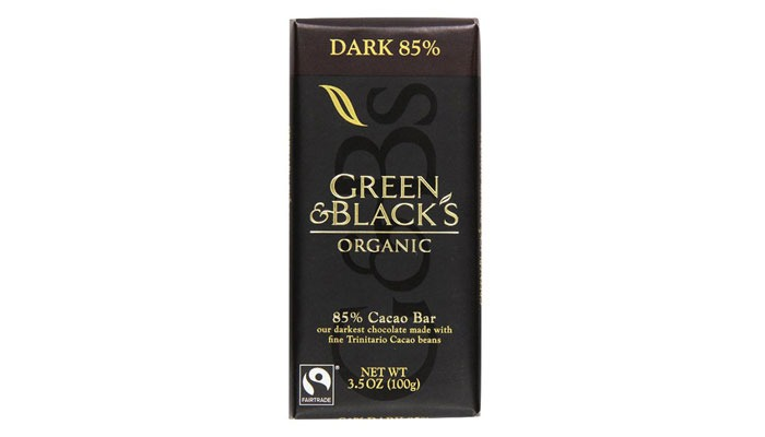 Green and Black's Organic 85 percent Cacao Bar - low carb snacks