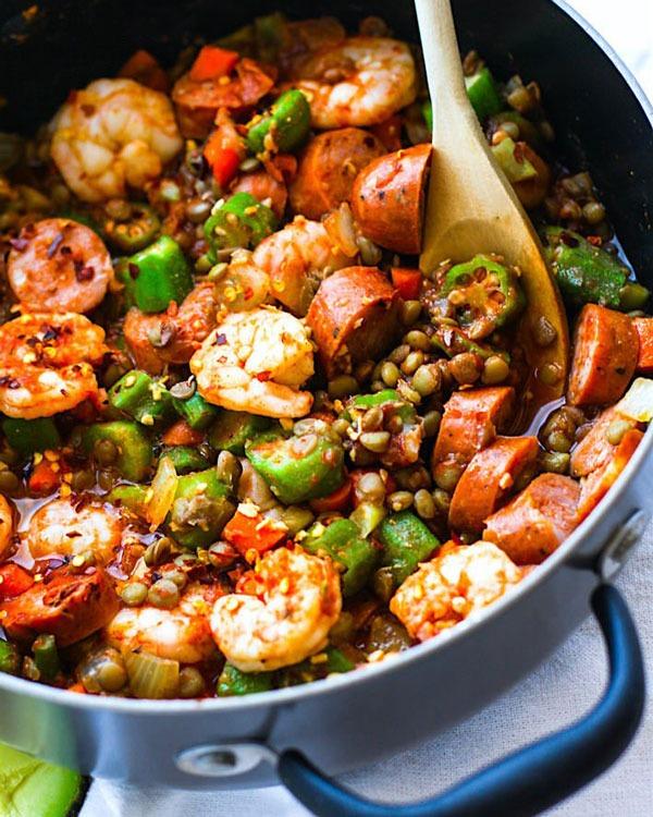 Shrimp recipes Shrimp Jambalaya Lentil Bowls
