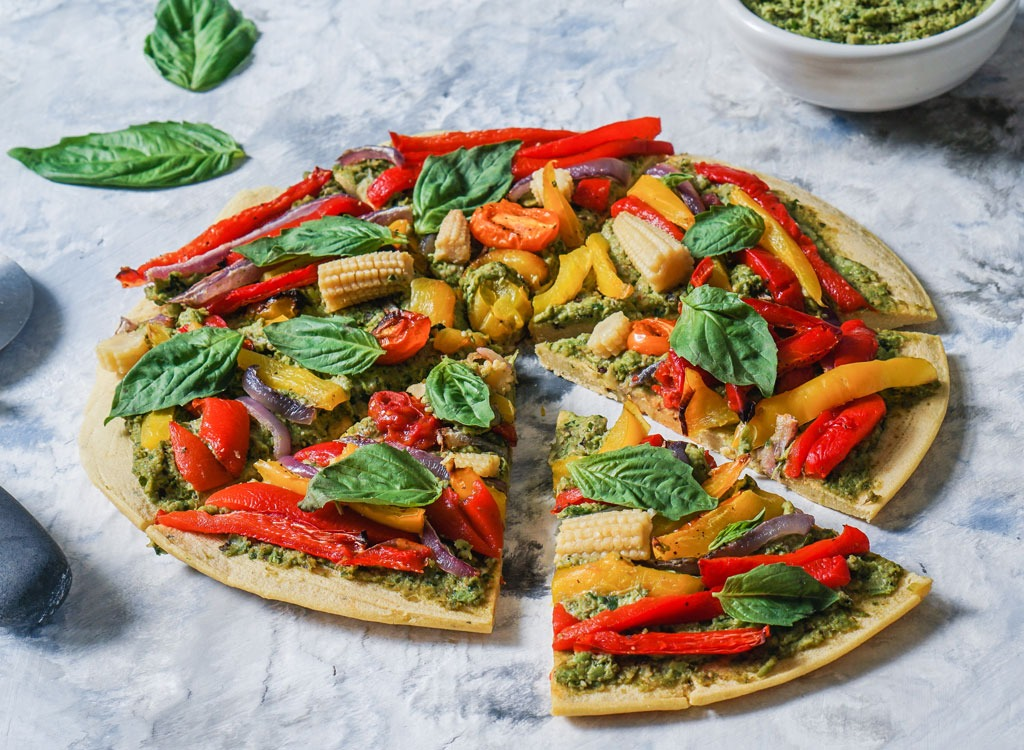 chickpea pizza with vegetables on it