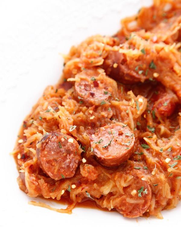 spicy kielbasa spaghetti squash