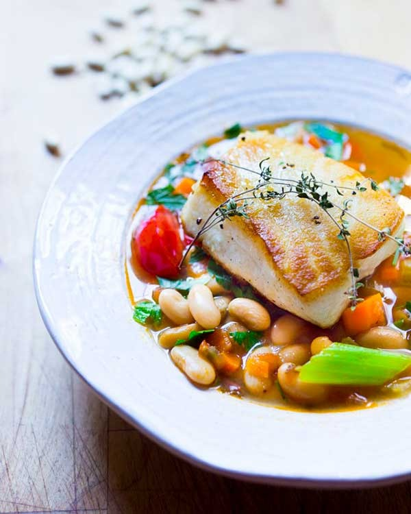 sea bass with cannellini bean stew