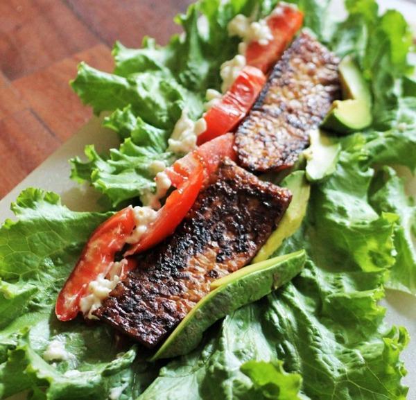 High Protein Vegetarian Meals Vegan Tempeh BLT Wrap