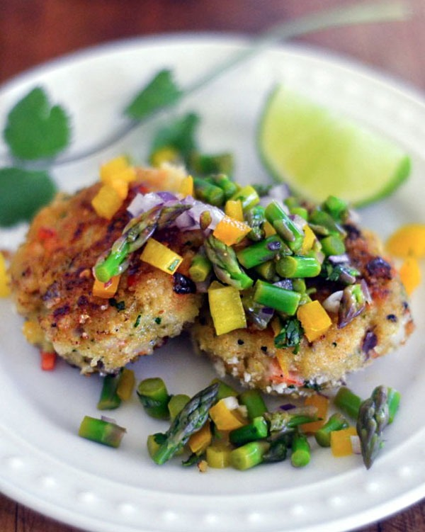 Shrimp recipes Shrimp Cakes with Asparagus Salsa