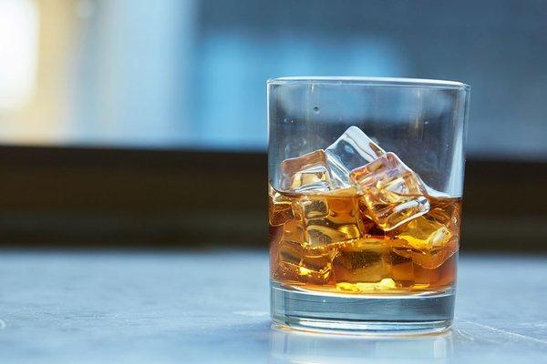 Glass whiskey ice