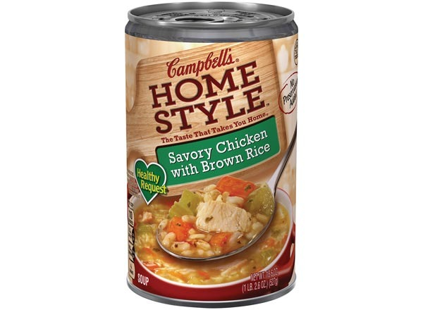 campbells healthy request savory  chicken with brown rice soup