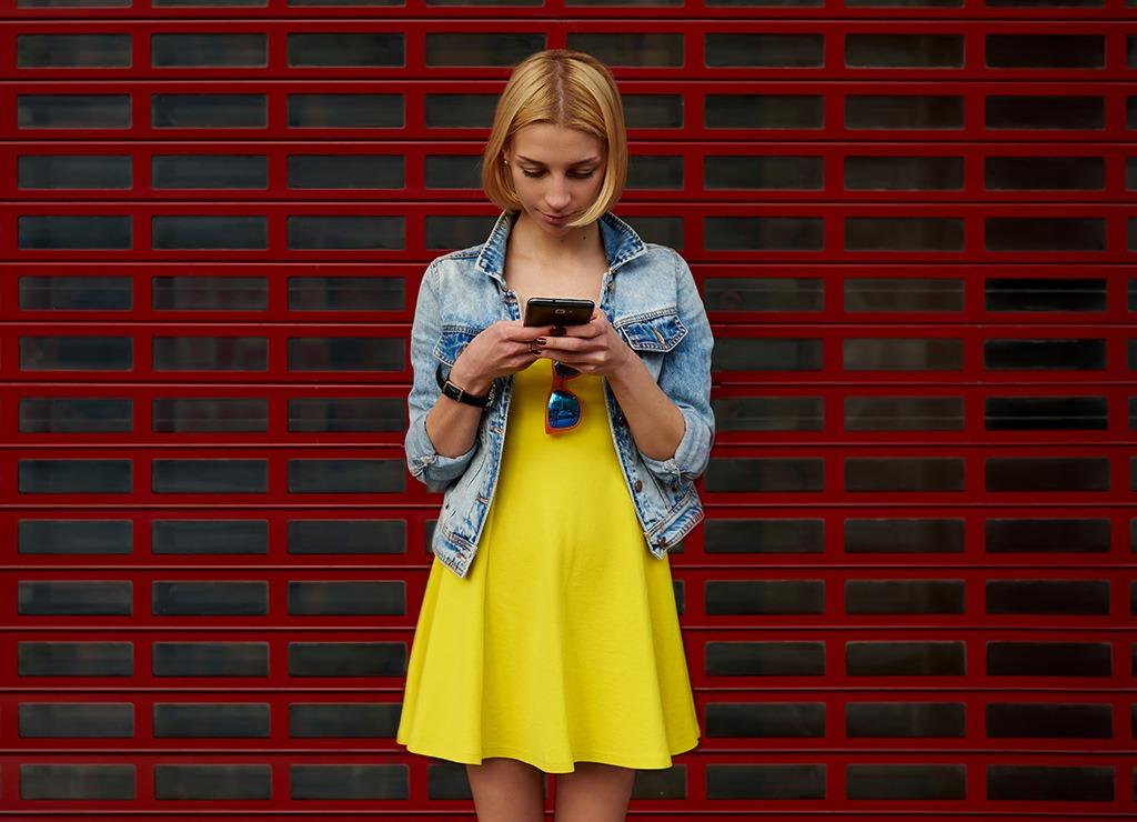 Woman staring at phone