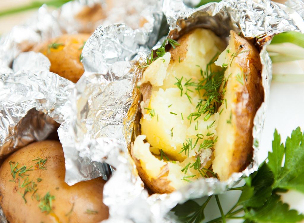 potatoes in aluminum foil