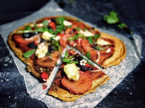 Flourless pizza lentils