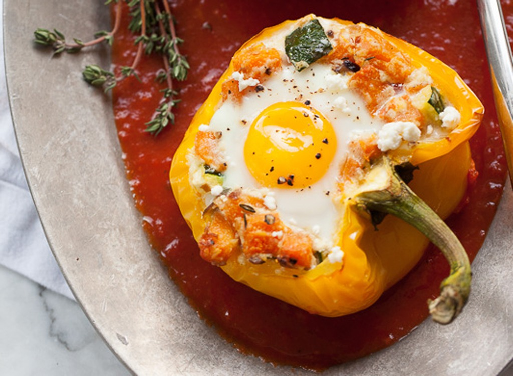 Eggs and bell peppers