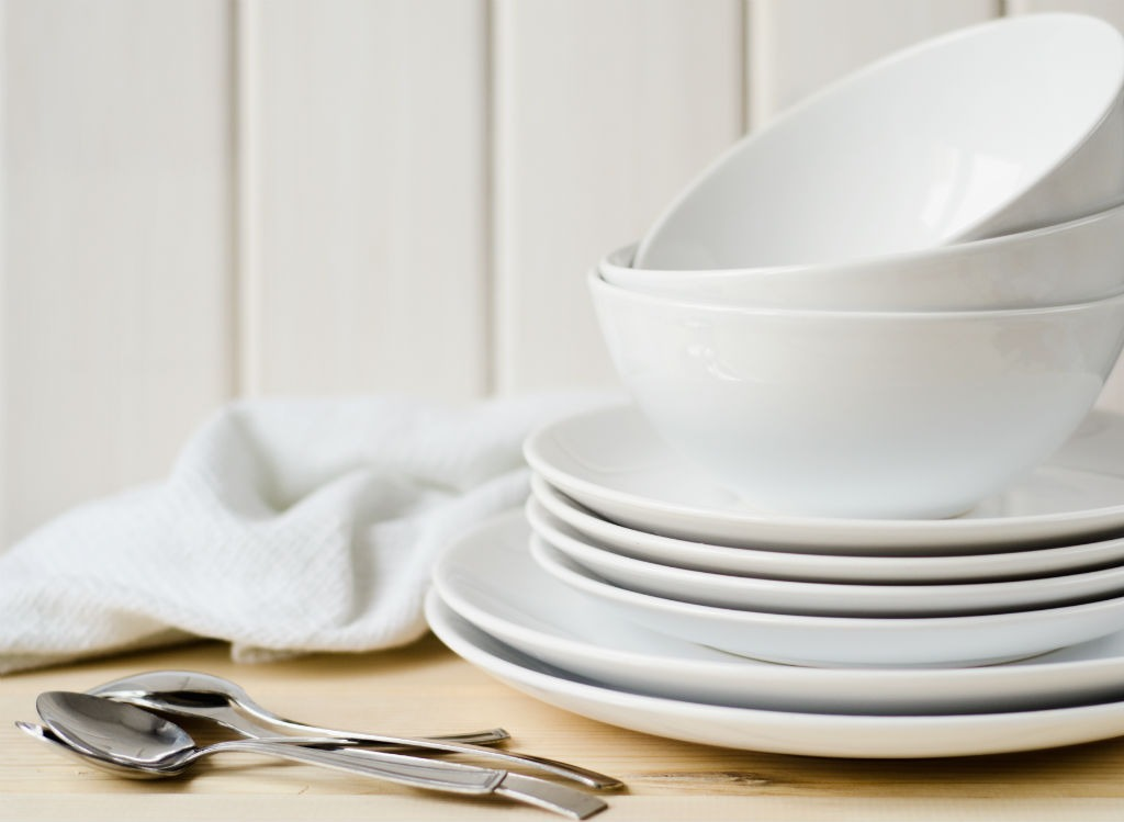 Stacked plates and bowls