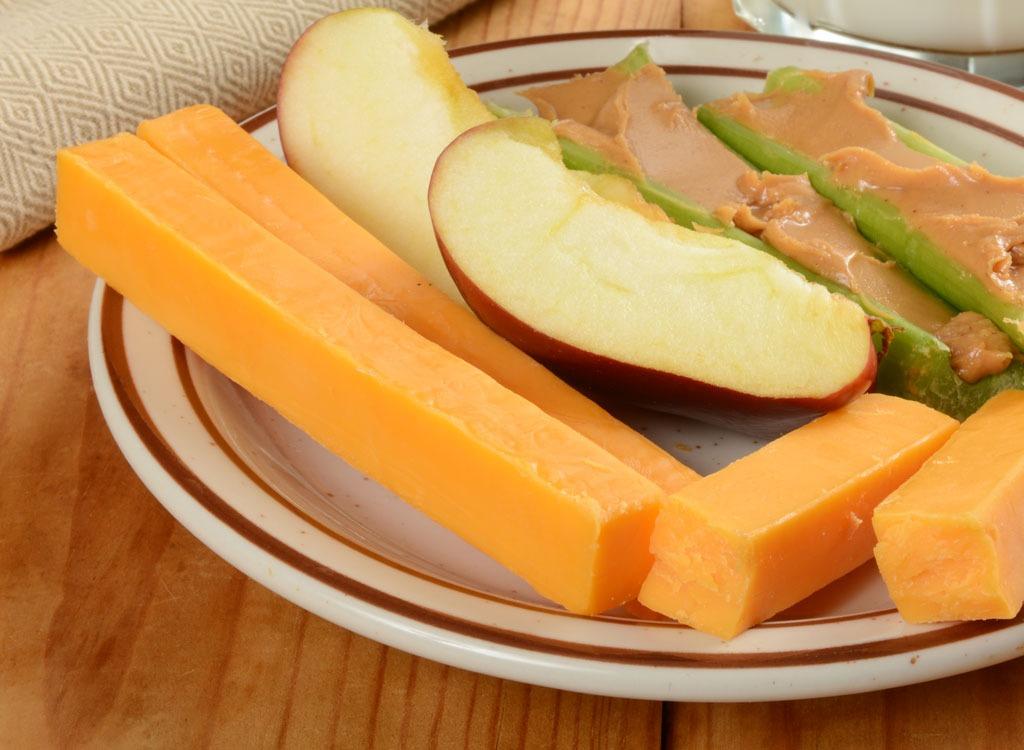 Healthy snacks cheese apple celery