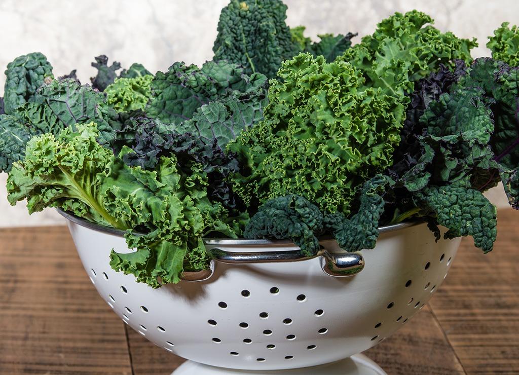 Kale in colander