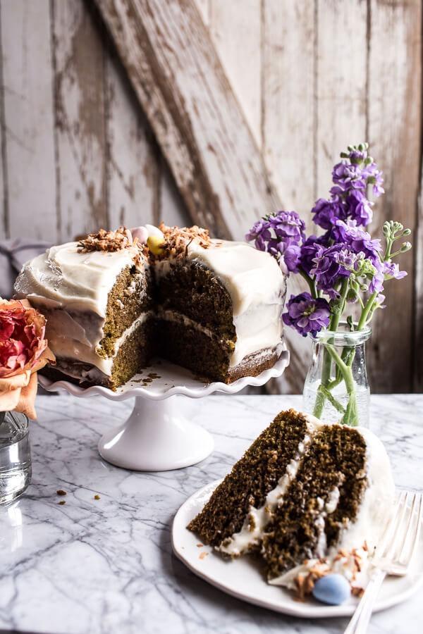 MATCHA CAKE WITH VANILLA HONEY CREAM CHEESE FROSTING