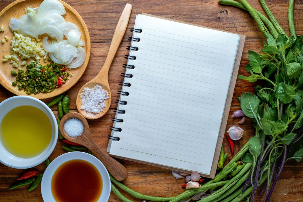 journal on a kitchen counter