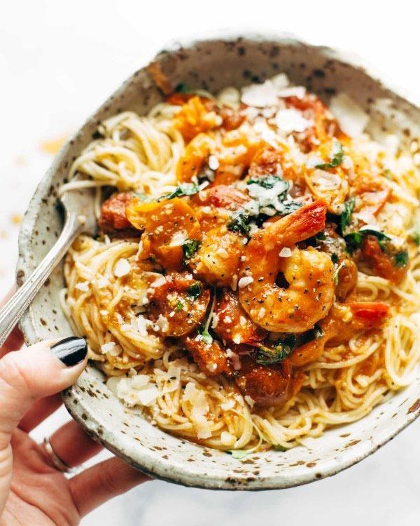 Shrimp recipes Garlic Shrimp Capellini alla Pomodoro