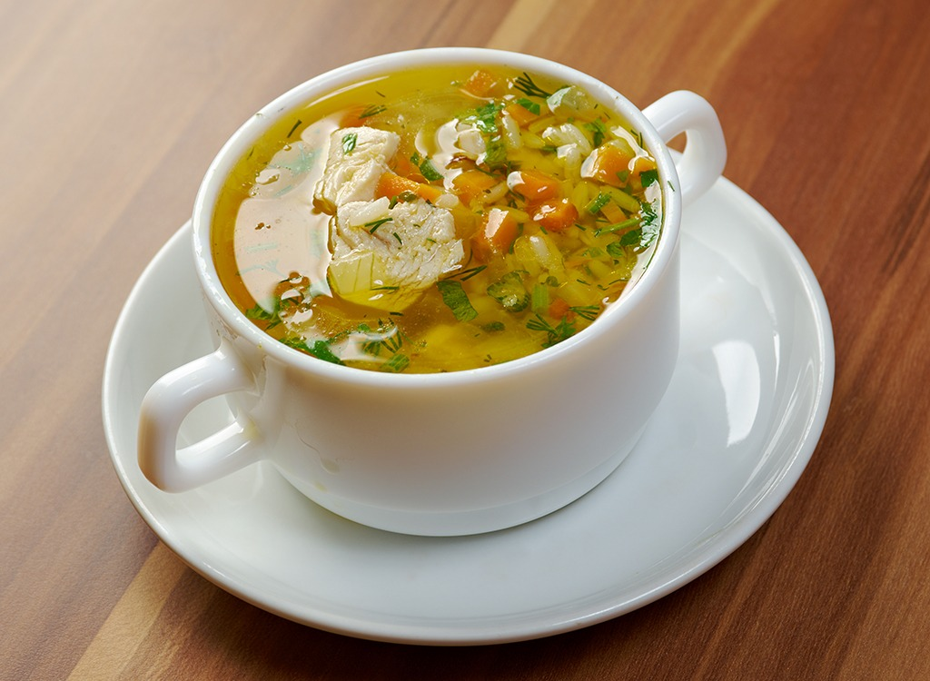 Chicken noodle soup in a small bowl, one of the many cold remedies
