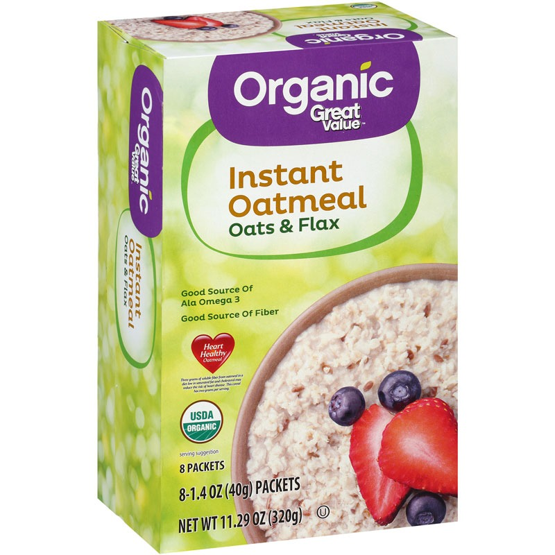 Great Value Organic Instant Oatmeal Oats and Flax