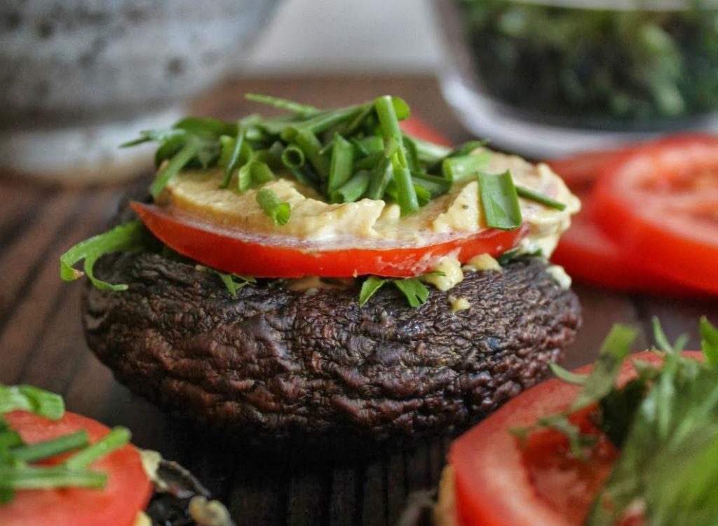 raw portobello burger