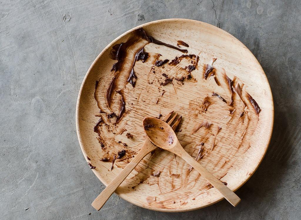chocolate dessert empty plate