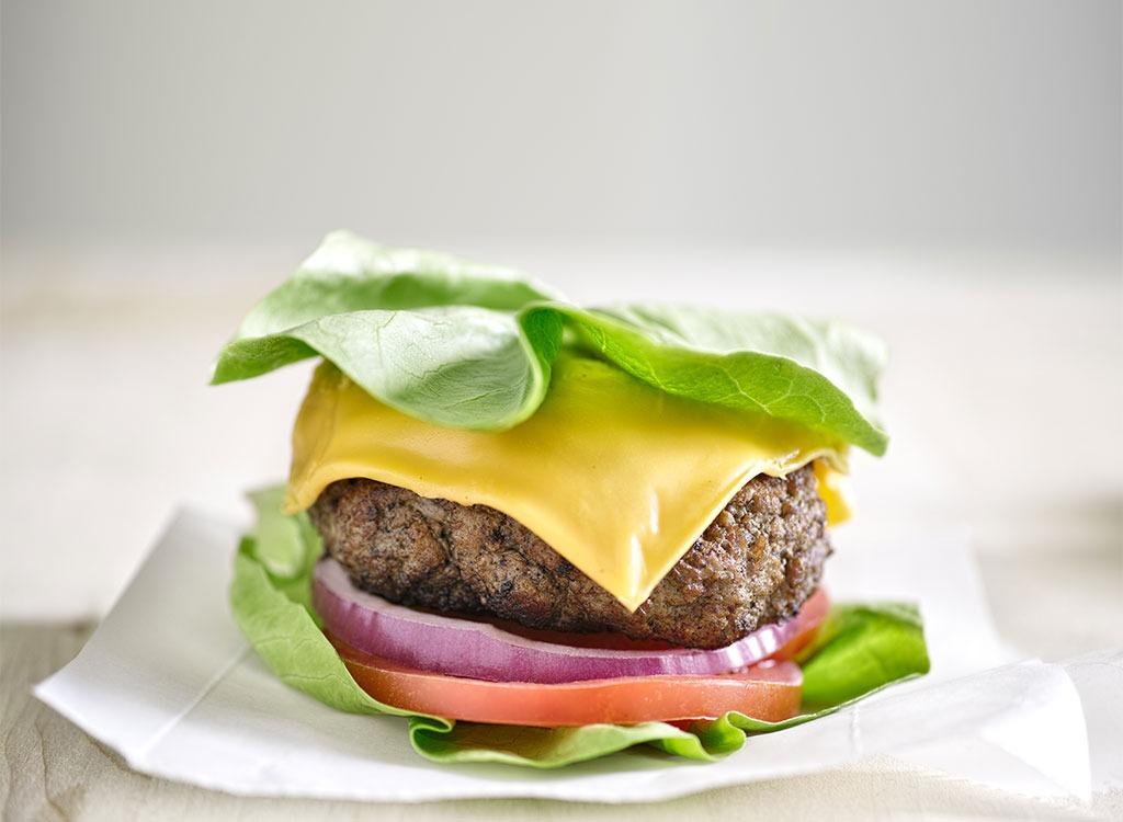 burger with lettuce bun